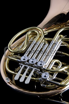 French Horn Isolated On Black Background