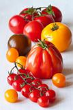 Varied types of tomatoes.