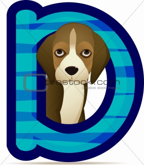 animal alphabet D with Dog cartoon