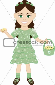 Green Dress Flower Girl