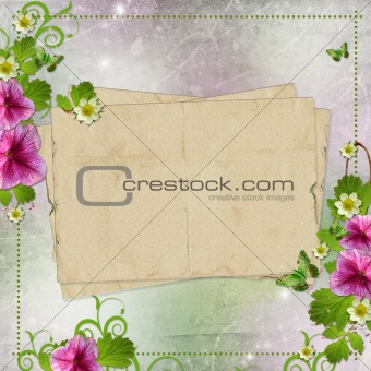 Background for congratulation card in pink and green