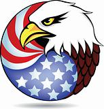 Eagle head and America flag