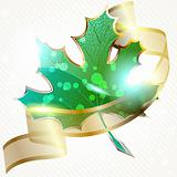 Shiny green leaf with transparent banner