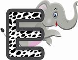 animal alphabet E with Elephant cartoon