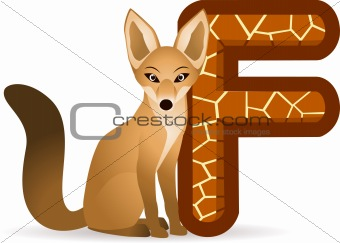 alphabet F with Fox cartoon