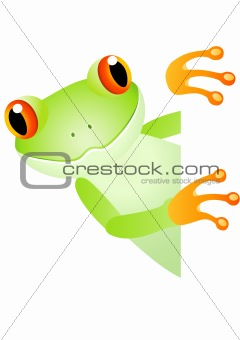 Frog cartoon and blank sign