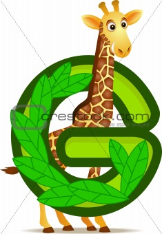 animal alphabet G with Giraffe cartoon