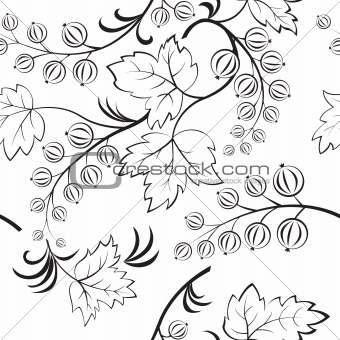 Black-and-white seamless with abstract currants