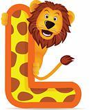 animal alphabet L with lion