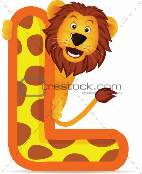 animal alphabet L with lion