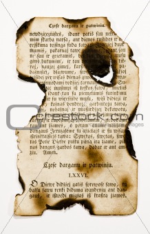 old books burnt page