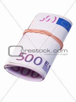 five-hundred banknotes under rubber band
