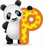 animal alphabet P with Panda cartoon