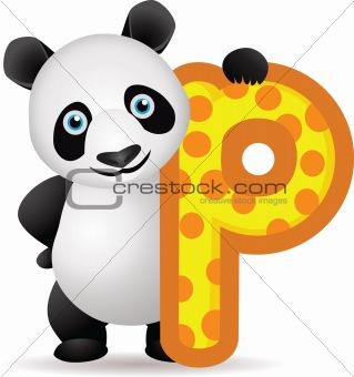 animal alphabet P with Panda cartoon