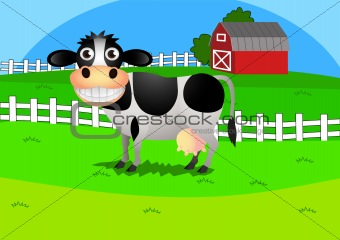 Illustration of cow in the farm