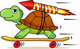 Turtle and rocket cartoon