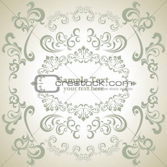 Abstract floral white frame
