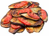 fried eggplants with fresh tomato