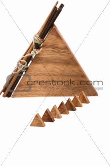 Aromatic sticks and wooden pyramids