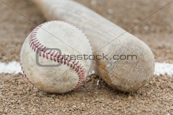 A worn baseball and bat