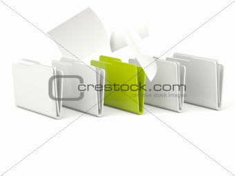 Green folder with documents