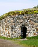 Stone Wall of Suomenlinna Sveaborg Fortress in Helsinki, Finland
