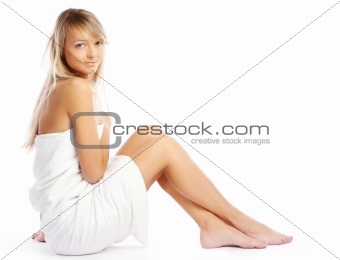 Beautiful lady with towel