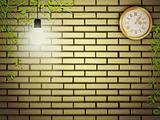 Vintage clock at brick wall in the night