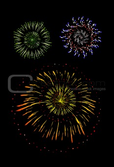 Brightly Colorful Vector Fireworks and Salute