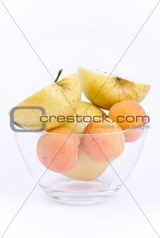 fresh apricot and apples in dish