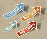  arrow &quot;best choice&quot; retro style bubbles sticker. 
