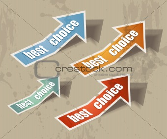 "arrow ""best choice"" retro style bubbles sticker."