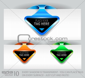 arrow paper tag with space for your text