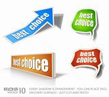 "Set of ""Best Choice"" speech bubble sticker with transparent shadows"