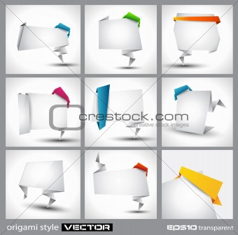 Origami style paper panel for advertising or business product