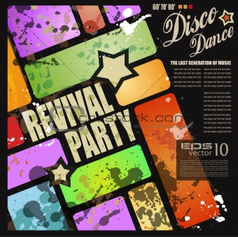 Retro&#39; revival disco party flyer 
