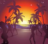 Sunset beach party illustration