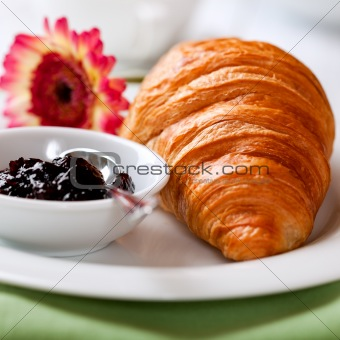 French croissant with bilberry jam