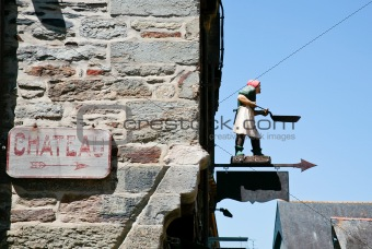 arrow sign in medieval castle