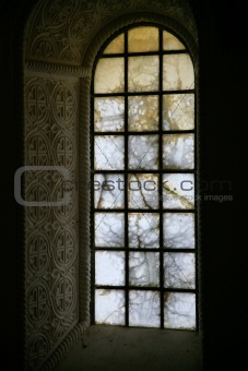alabaster glass window in acient church