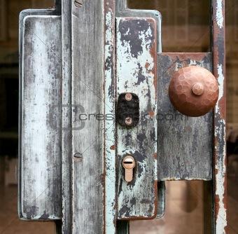 old lock on glass door