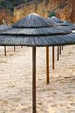 straw beach umbrellas
