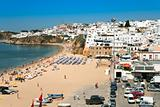 beach in town Albufeira, Portugal