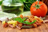 basil, pasta and olive oil - still life in the Italian style