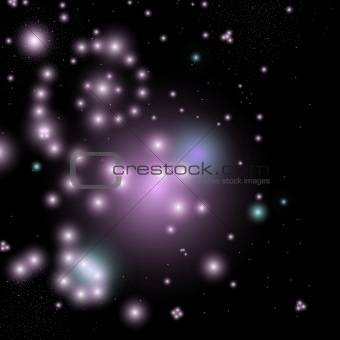 beautiful positive space scene with glowing stars