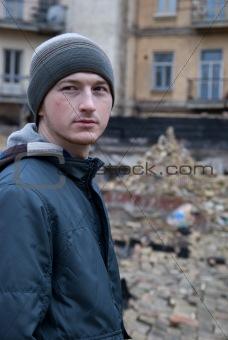 a man among ruins