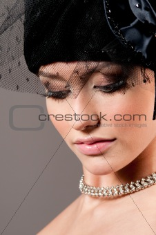 attractive woman with a beautiful headdress