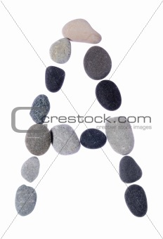 pebble A isolated on white