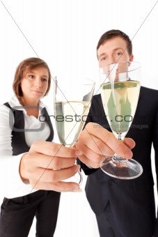 business couple with champage