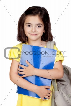 Student little girl with a backpack